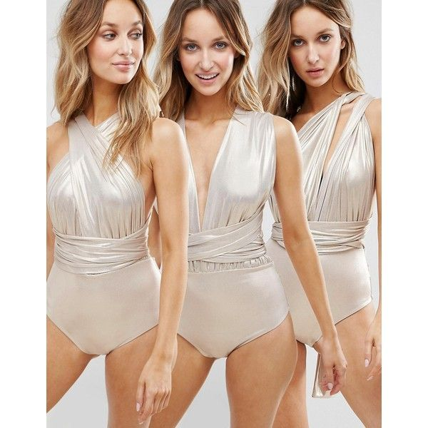 Goddiva Multiway Swimsuit ($42) ❤ liked on Polyvore featuring swimwear, one-piece swimsuits, gold, strappy one-piece swimsuits, plunge one piece swimsuits, bandeau bathing suits, gold bathing suit and gold one piece swimsuit