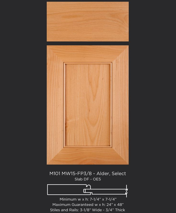 """A modern twist on the shaker door: 3-1/8"""" wide frame and beaded inside edge on this mitered cabinet door in alder by TaylorCraft Cabinet Door Company M101-MW15-FP3/8 in Alder Select taylorcraftdoor.com"""