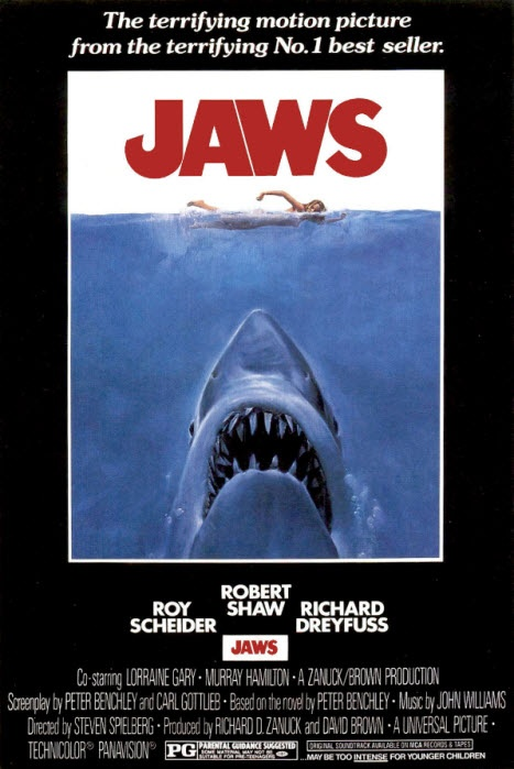 Jaws - For some odd reason, every Sunday when I was a kid, I woke up, and watched this on video, followed by The Sound of Music. No, I don't understand it either. ;-)