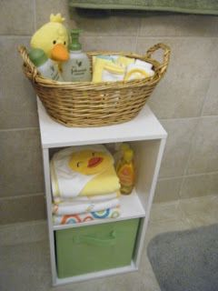 Organizing baby bath stuff