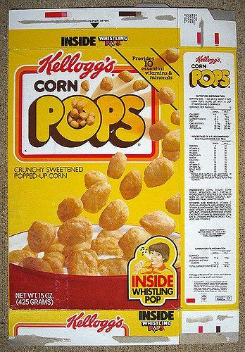 1987 Kellogg's Corn Pops Cereal Box Front