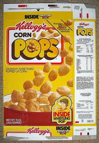 1987 Kellogg's Corn Pops Cereal Box Front