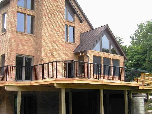Wood Balcony Railings Cedar Deck With Aluminum Railings