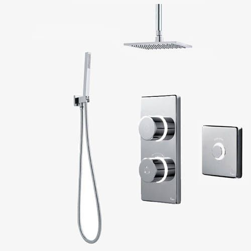 """Contemporary 2025 two outlet digital shower pack with LED colour changing lights, processor unit, 8"""" square shower head, ceiling mounting arm, contemporary shower kit and remote control (high pressure systems). Now in stock at Taps4Less."""