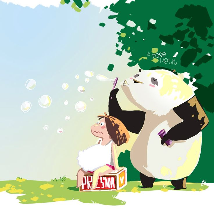 http://rozovotruskova.blogspot.ru  Panda & girl illustration by Rozovotruskova