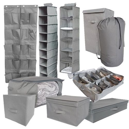 10PC Complete Dorm Organization Set - TUSK Storage - Gray Dorm Storage Solutions Dorm Organization