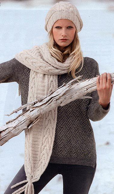 Шапка «Бини» и шарф, связанные спицами. Модели для молодежи