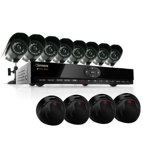 Defender SN301-8CH-008 8 Channel H.264 Smart DVR Security System with Coaching iMenu and 8 Hi-Res CCD Night Vision Surveillance Cameras & Bonus 4 PH301 Imitation Dome Security Cameras by Defender. $369.99. The Defender SN301-8CH-008 DVR system will work for almost any property because it includes 8 indoor/outdoor night vision cameras. Depending on the size of your business or home, you can mount the cameras at all entrances, in your yard and even inside. Setup is fast and...