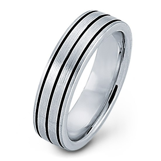 Angara Mens High Polished Edges Center Cross Hatch Pattern Wedding Band