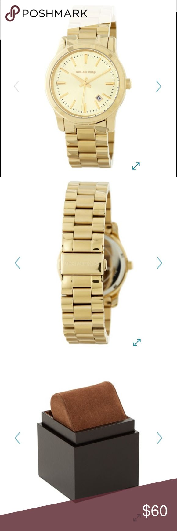 Michael Kors Jet Set Gold Watch Pre-loved with signs of wear, but still has a lot of life left! Battery will need to be replaced. MSRP is $225. Its currently on Nordstrom Rack for $100.  - Case: Gold-tone stainless steel case - Strap: Gold-tone stainless steel - Bezel: Fixed gold-tone - Dial: Champagne dial with gold-tone hands and stick hour markers  - Movement: Quartz - Case diameter: 38mm  - Case thickness: 12mm  - Bracelet Length: 7 inches - Closure: Foldover with push buttons - Water…