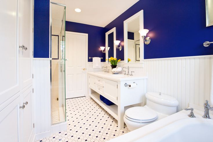 Attractive Blue And White Bathroom Into A Stylish Color Choices Your Family: Interesting Blue And White Bathrooms With Blue And White And White Ceiling Wall Also Lighting Lamp Plus White Painted Bath Cabinetry With Bathroom Sink Faucets For Traditional Bathroom