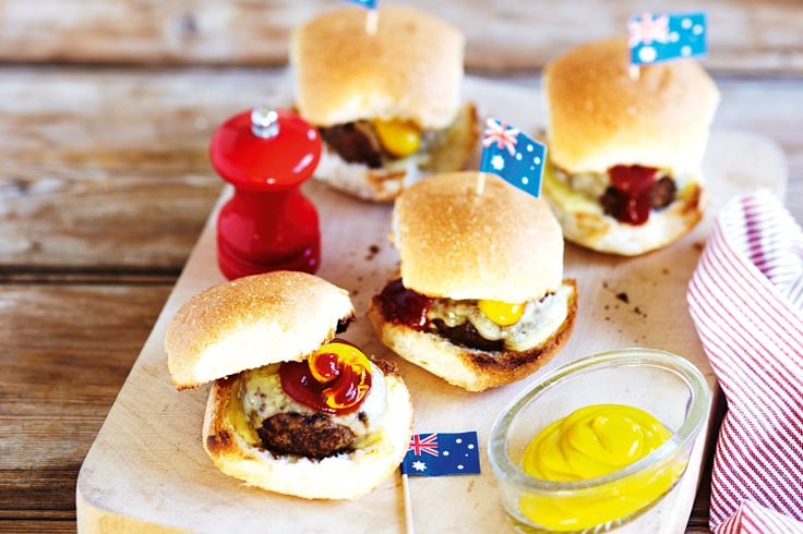 Beef and cheese mini burgers http://www.taste.com.au/recipes/28358/beef+and+cheese+mini+burgers