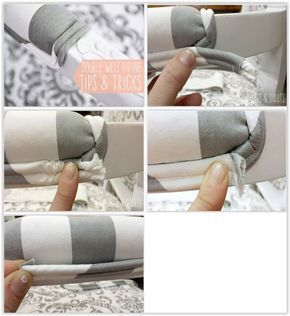 Double Welt Piping Tips & Tricks ... to finish the end, mark where the cording ends, push the fabric back to expose where the cord needs to be cut & snip it off leaving the excess fabric. Tuck the end under & secure with glue ............. #DIY #upholstery #piping #doubleweltpiping #cording #fabric #glue #howto #tips #furniture #decor #crafts #upholsteryfurnituretips