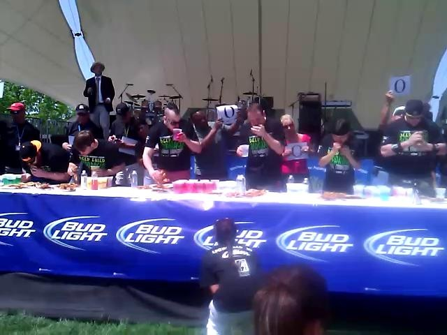 2012 Stockton Asparagus Festival's Deep Fried Asparagus Eating Competition by Megan Peterson. Joey Chestnut wowed the Stockton Asparagus Festival again this year by eating almost 8 pounds and 5 ounces of deep fried asparagus!