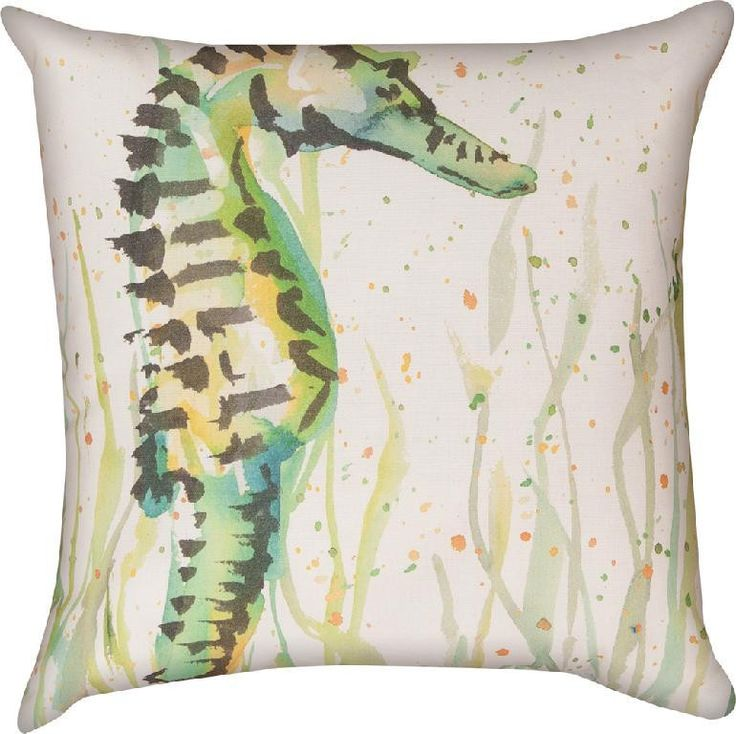 Seahorse Beach Life Nautical Indoor/Outdoor Weather Resistant Fabric Pillows (Set of 2)
