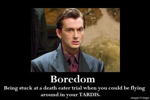 """So in Goblet of Fire, Barty Crouch Jr. dies in the chapter """"The Parting Of The Ways."""" He's played by David Tennant in the movies, whose first episode of Doctor Who was """"The Parting Of The Ways."""""""
