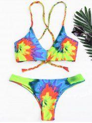 Tie Dye Braided Criss Cross Bikini Set