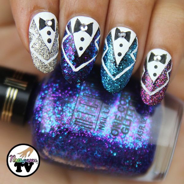 "Tuxedo nail art using Milani Cosmetic's ""Twinkle"" glitter nail polish 