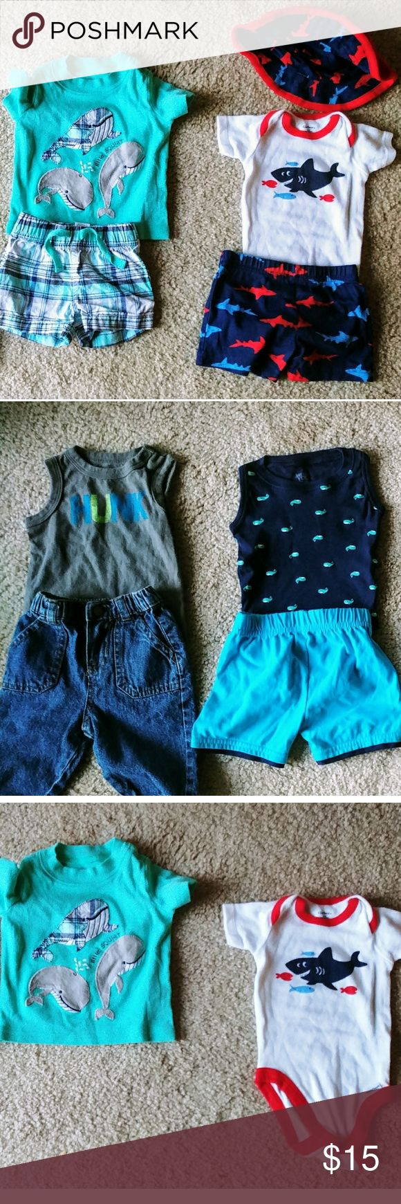 NWOT Bundle of 4 summer outfits baby boy The first one is a t shirt and shorts set from Carter's then a one piece with matching shorts and hat the second photo is a sleevless one piece reading HUNK across with jeans both pieces are Circo brand then a cat and Jack outfit. Never used kid grew to fast. Cat & Jack Shirts & Tops #babyboyshorts #babyboyjeans #kidoutfits