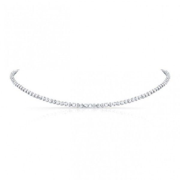 14k White Gold Diamond Cut Bead Choker ($1,300) ❤ liked on Polyvore featuring jewelry, necklaces, white gold diamond necklace, adjustable necklace, 14 karat gold necklace, 14k necklace and beaded choker necklaces