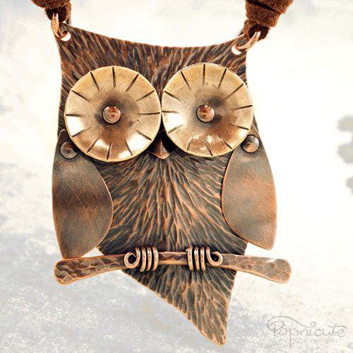 Unique Cute Owl Necklace Copper Brass Metal Hoot Sculpture Riveted | popnicute - Jewelry on ArtFire