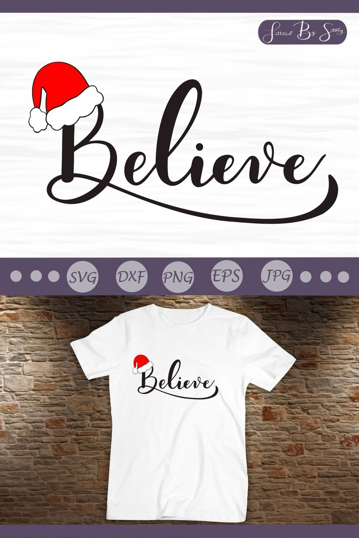 Christmas SVG Believe SVG design with Santa hat Stacy
