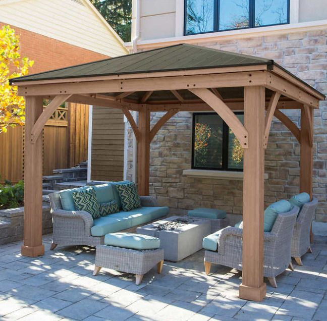 Cedar Gazebo 12x12 Kit Backyard Hardtop Outdoor Large Wood Aluminum Patio Roof Unbranded Backyard Gazebo Backyard Pavilion Diy Gazebo