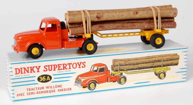 Lot 1979 - French Dinky Supertoys, French 36A Willerne log lorry, orange-red cab, yellow semi-trailer, 6