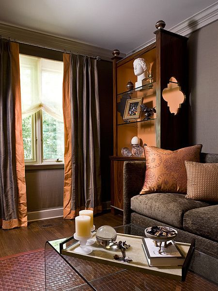Northern Westchester Estate-loveeeee that color orange, the textures,  with the almost chocolate color...