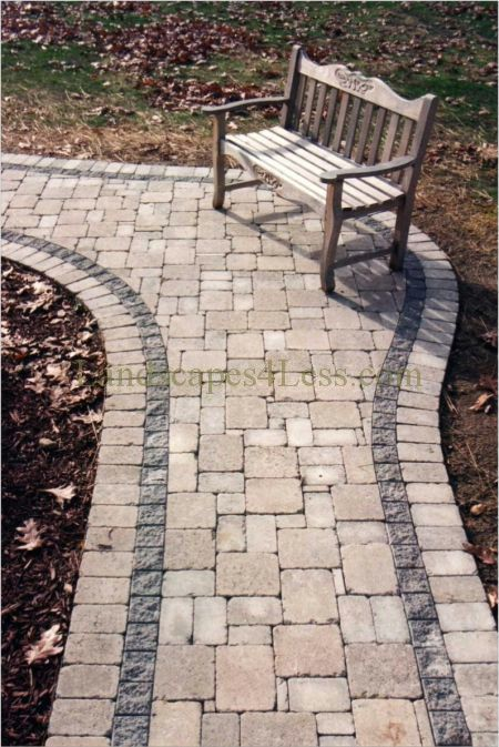cobble paver walkway for the front garden. I like the two colours, with a simple design that isn't too fussy.