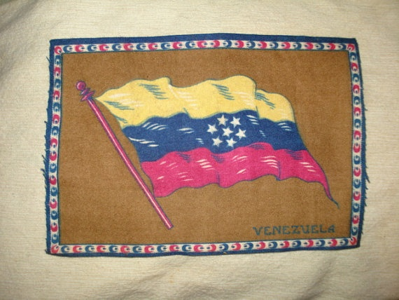Vintage FLAG of VENEZUELA 8x5 Tobacco Felt by PastPossessionsOnly, $5.95