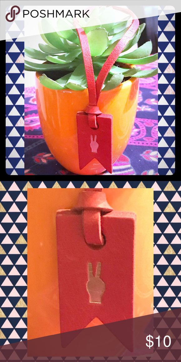 NWT MADEWELL RED ORANGE PEACE SIGN EMOJI BAG TAG NWT MADEWELL BURNISHED RED ORANGE LEATHER PEACE SIGN EMOJI BAG TAG...The cherry on top of your favorite bag, embossed with a gold palm tree. Mix, match and, of course, get it monogrammed on the flip side. Madewell Accessories
