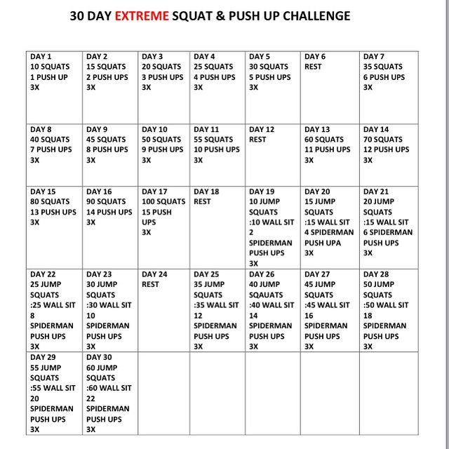Okay so I put together this month long #squatchallenge for those of you who like the steady incline in reps. I put a #beastmode twist on it for #maxresults focus on perfect form #pushups so you can be complete head to toe #fit for #summer #beachbody #hardwork for amazing #glutes #toned arms and #tightcore #fitforlife