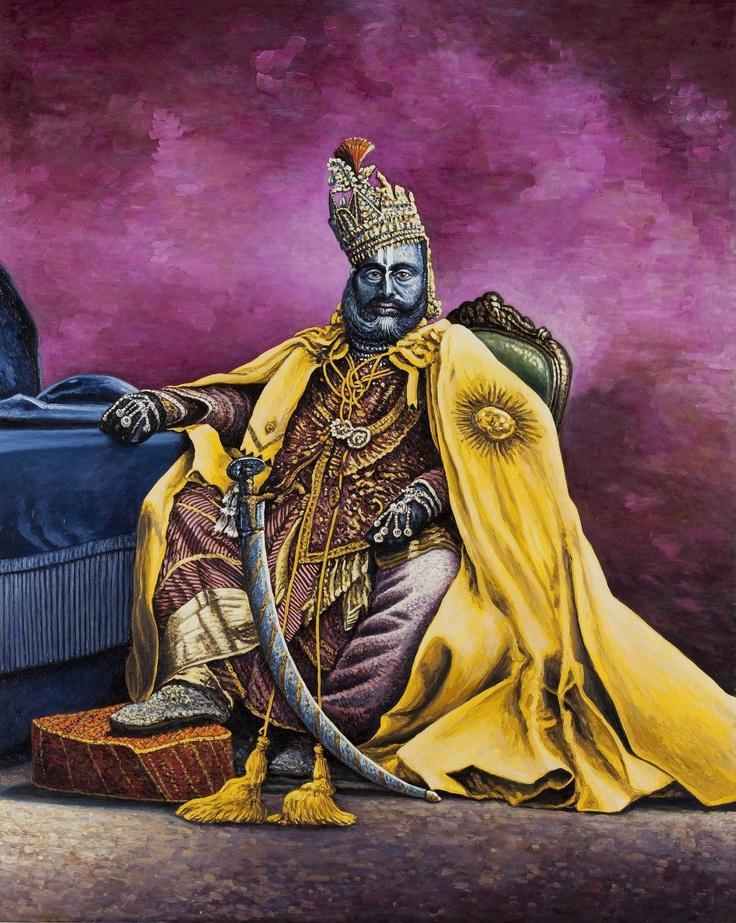 Raghuraj Singh, Maharaja di Rewa 2010, olio su lino, cm 150x120 (da fotografo non identificato).