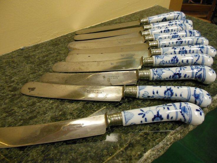 10 ANTIQUE SOLINGEN TABLE KNIVES MEISSEN BLUE ONION HANDLES #SOLIENGEN