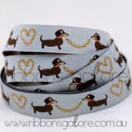 dogs on light grey ribbon (15mm wide) : Ribbons Galore, your online store for the best ribbons #ribbonsgalore #ribbon #dog