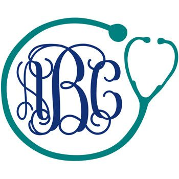 For all you nurses out there... Nurse Stethoscope Monogram Decal with Vine Font - Multiple Colors