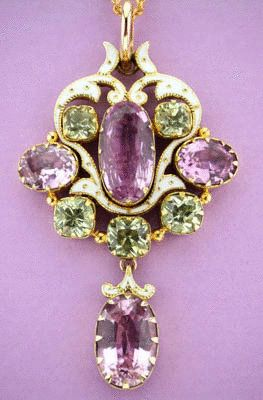 Antique Pink Topaz, Chrysoberyl & Enamel Pendant