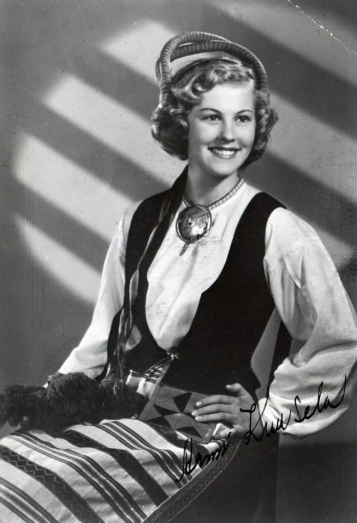 "Armi Kuusela, Miss Universe 1952, in one of Finnish national costumes. She also made a film in Finland ""Maailman kaunein tyttö"", (the prettiest girl in the world)."
