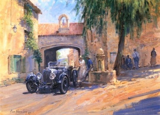 Classic Car Paintings by Alan Fearnley.... Love the car paintings