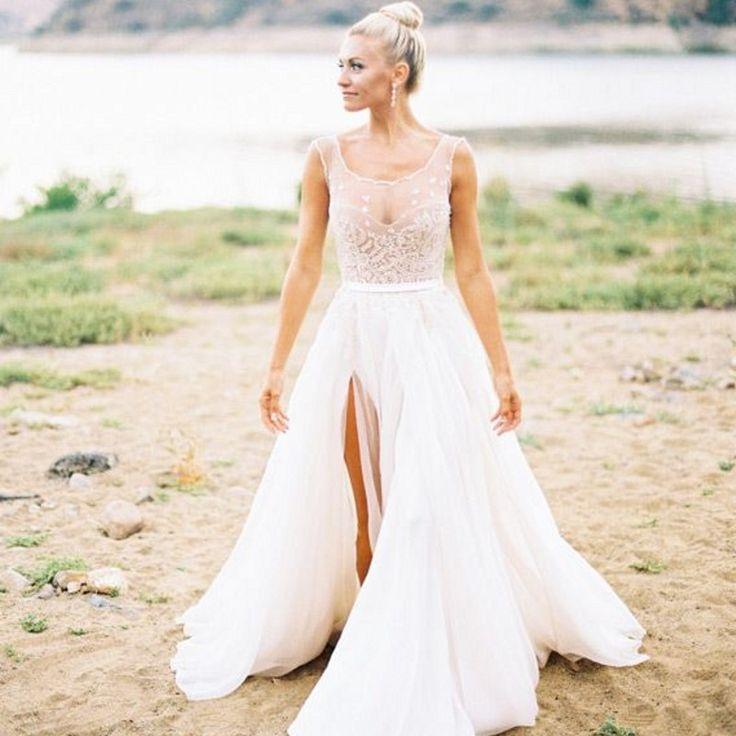 Mode pure land bruiloft bruids jurk met beading geschulpte hals organza embriodery a  lijn kant split trouwjurk in   1. alle jurken we zal een beetje anders dan de originele foto die je ziet op de website, en de grootte zal meer  van trouwjurken op AliExpress.com | Alibaba Groep