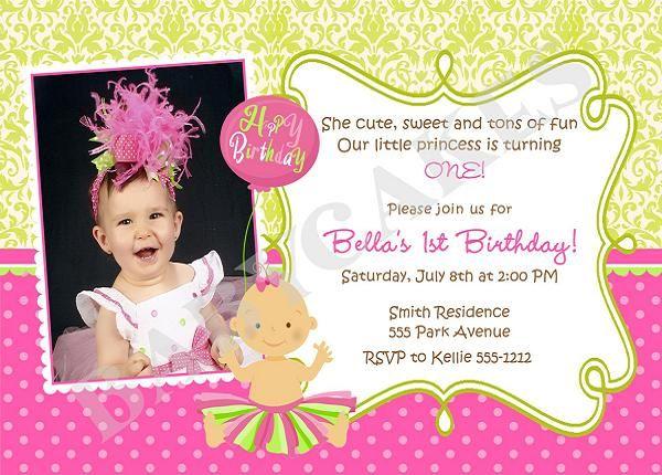 The Best St Birthday Invitation Wording Ideas On Pinterest - First birthday invitation card images