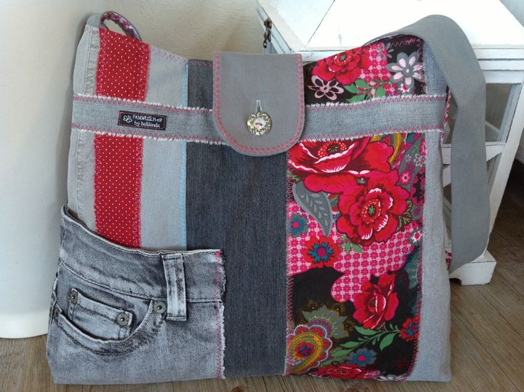 Schultertaschen - Jeanstasche < LOU > - ein Designerstück von FADENREICH-elt bei DaWanda