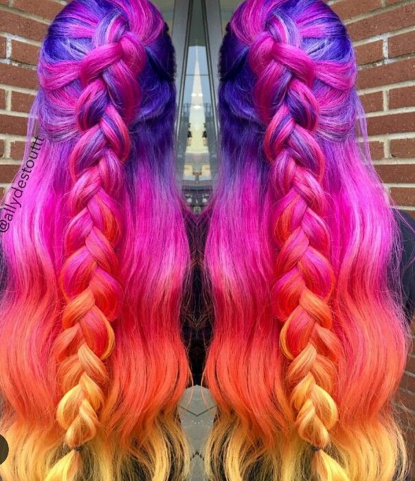 Purple red yellow dyed hair color