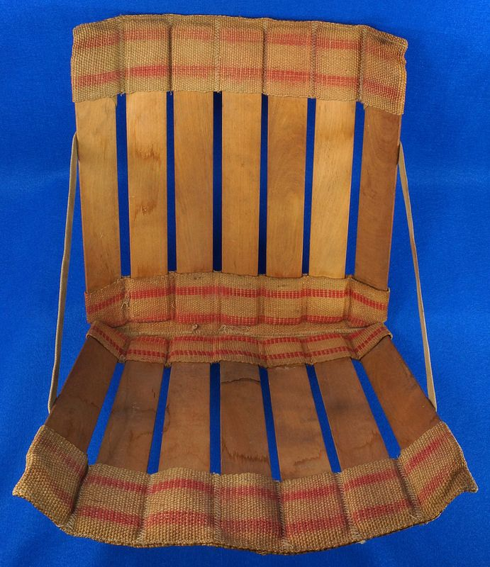 Vintage Wood Slat and Burlap Portable Stadium Seat Folding Chair To see the Price and Detailed Description you can find this item in our Category Vintage Sports Memorabilia on eBay: http://stores.ebay.com/tincanalley1/Vintage-Sports-Memorabilia-/_i.html?_fsub=14920729018  RD0941