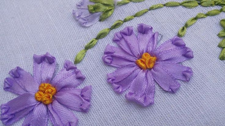 How To Make Ribbon Embroidery Design by Hand: A basic stitch that enables you to create a wide variety of flowers, leaves even insects.. Can be executed with...
