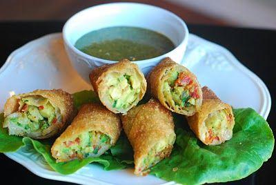 Avocado egg rolls with cilantro dipping sauce