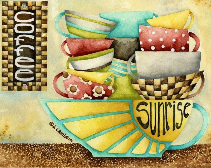 Coffee illustration art by Jennifer Lambein via www.Facebook.com/JenniferLambeinStudioPetite