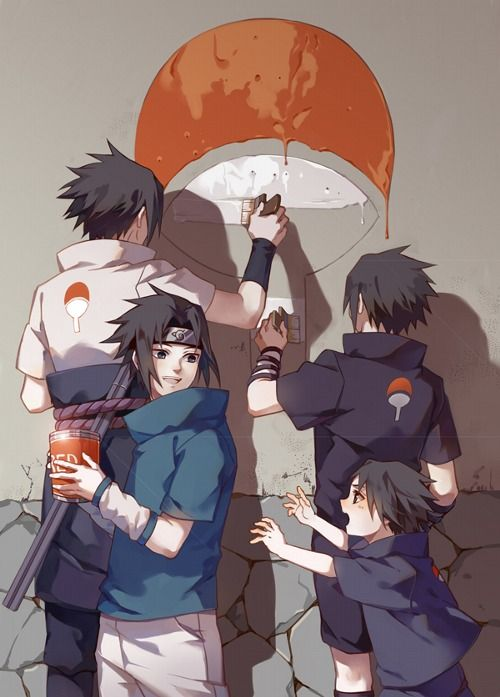 Different Aged Sasuke Trying To Restore The Uchiha Clan Symbol