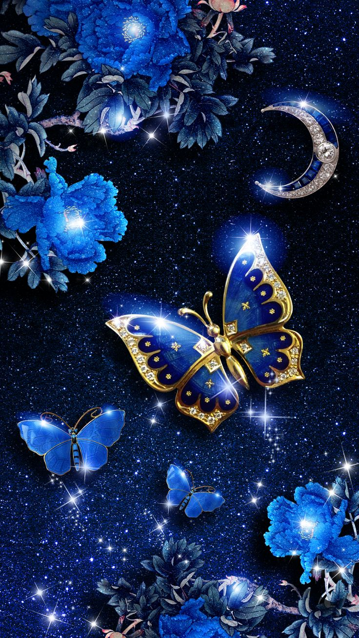 Elegant blue butterfly live wallpaper! Android live